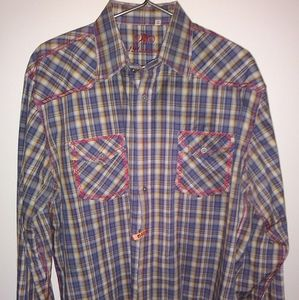 191 Unlimited Men's 2X Long Sleeve Checked Button